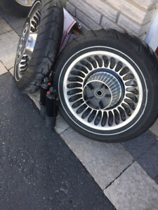 Harley Knuckle Rims with Tires, and Shocks