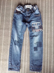 Next UK blue cotton denim jeans (lined) and patch
