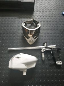 Paintball Dangerous power G5 gun, hopper, mask