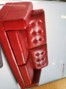 RED SOFA AND 2 RED LEATHER RECLINERS