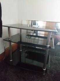 3 tier black glass TV stand