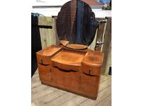 Antique vintage large 1940s dresser drawers with mirror