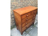 Old vintage solid wood chest of draws