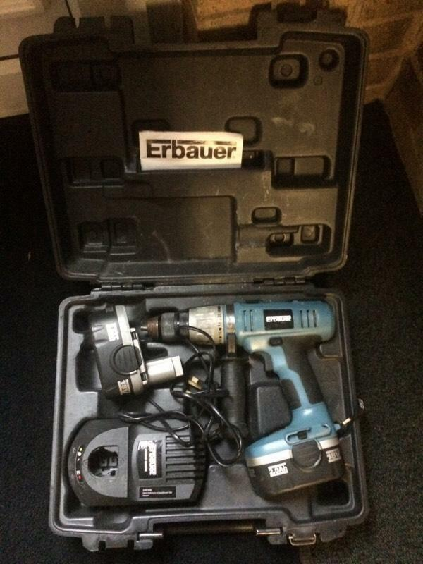 Erbauer 18v Combi Hammer Drill With Charger 2 Batteries