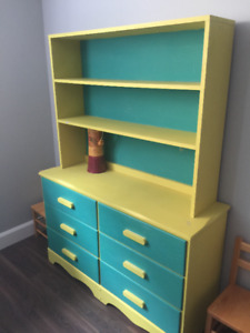 Great, Colorful, Solid Wood Dresser with Shelving + sm table
