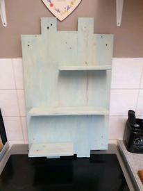 Solid wood hand made shelf unit for kitchen or bathroom