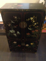 Commode chinoise antique Vintage Black Lacquer Oriental Cabinet