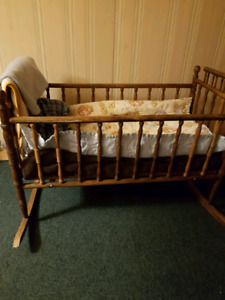 Antique cradle and car seat