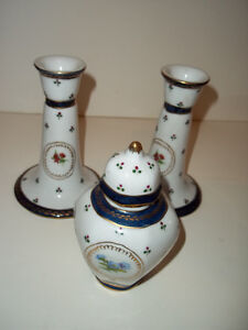 "Limoges Style Porcelain Candle Sticks 5 1/2"" & 5"" tall Jar"