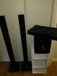 lg surround sound theater system dvd blue ray player 5 speakers.