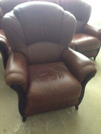 Leather sofa and armchair free delivery