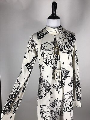 VTG 70s Futura Psychedelic Butterfly Print Palazzo Jumpsuit & Duster Vest S M