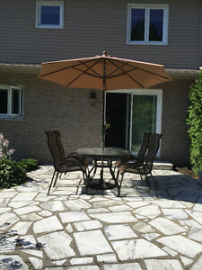 Table / (4) High Back Chairs / Umbrella & stand