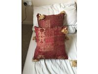 X2 perfect condition dark red and gold throw cushions