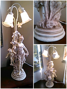 Signed stone look finish Victorian Cherub table lamp