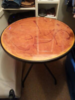 A few various coffee and patio tables - hardwood and epoxy/glass