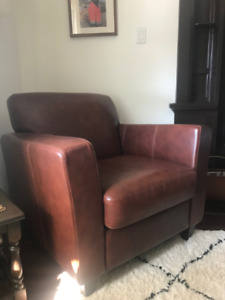 Large Brown Leather Club Chair