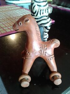 MEXICAN RED CLAY POTTERY HORSE on WHEELS - VINTAGE