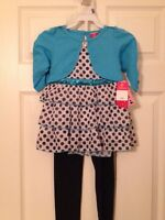 New Girls Toddler Blue and Polka Dot Dress Sz 4