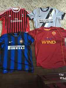4 Serie A Italian soccer jerseys collection.