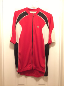 Cycling  jersey, jacket, shoes, helmet.