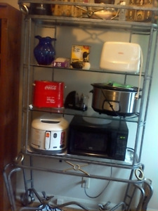 Microwave stand with glass shelves