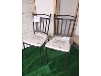 New Pair Blooma Sofia Metal Garden Chairs in Dark Brown with Seat Cushions