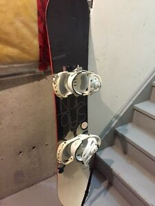 Snowboard with boots and bindings