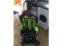 Front and back double pushchair