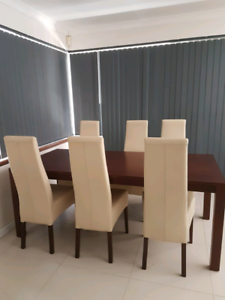 Dining Chairs x6 cream leather 'Aanno' brand Morley Bayswater Area Preview