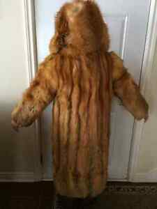 Long Fox Fur Coat with Hood