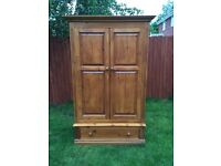 Large solid pine double wardrobe