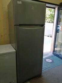 Indesit tall fridge freezer silver with warranty at Recyk Appliances