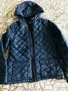 Girl's Navy Quilted Jacket - Size M/7-8