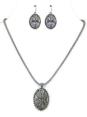 Cross on Oval Disk, Filigree Religious Christian Necklace/Earrings Set #54-E