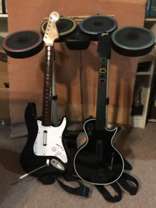 PS3 Guitar Hero Bundle with complete instrument set and 3 games!