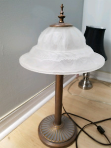 Antique brass and glass lamp