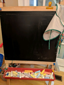 Chalkboard and white board easel