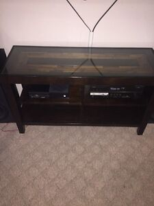 Beautiful solid wood+ glass entertainment stand