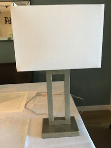 Silver Lamp with Off-White Shade - $20 (Langley)