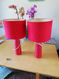 Pair of lamps red