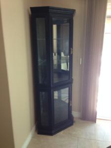 Beautiful black corner curio cabinet