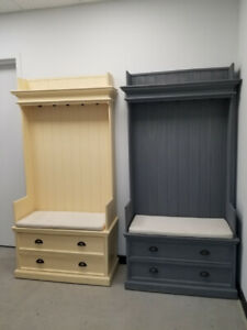 Solid Wood Entryway / Hall Three with Coat Rack and Storage Unit