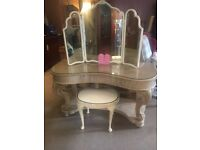 Beautiful French Dressing Table with Drawer + Matching Stool - CAN DELIVER