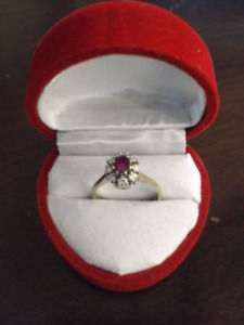 Genuine Diamond and Ruby Ring for sale, size 6.5