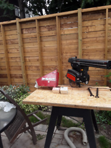Radial arm saw. Sears Dust collector, drill chuck, sanding drum.