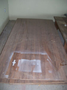large homemade table pressed board with folding metal legs
