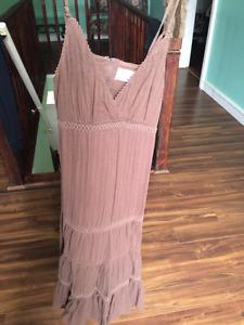 Light brown ruffle dress