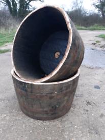 Oak barrel planters - Oak tubs