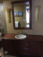 """Bathroom Vanity set - 60"""" Vanity, Sink, Faucet, Mirror, Lighting"""